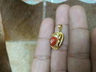 antique Egyptian Amulet Gold Scarab Luck With natural coral stone bc