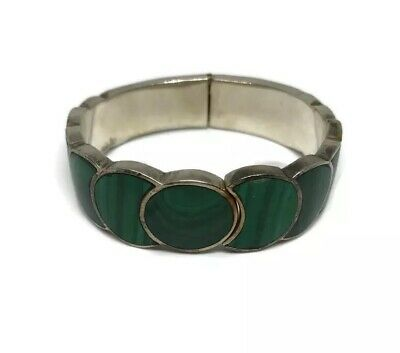 Vintage Taxco 925 Mexico Sterling Silver Malachite Hinged Cuff Bracelet