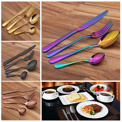 Flatware Sets Stainless Steel Cutlery for 4 Knife Fork Spoon Kitchen Tablewares