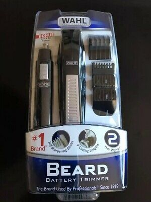 Wahl Cordless Battery Operated Beard Trimmer / Bonus Ear, Nose and Brow Trimmer