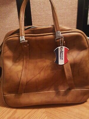 Vintage American Tourister Carry On Luggage Bag With Key Tan Faux Leather