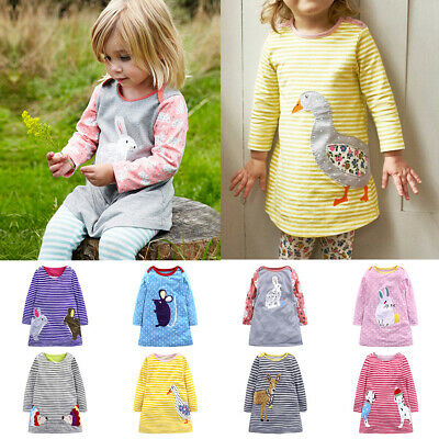 Baby Girls Kids Toddler Cotton Long Sleeve Striped Cute Cartoon Printed Dress