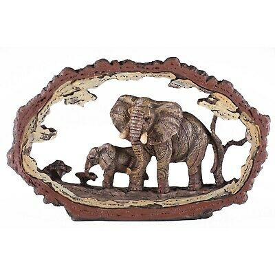 "Elephant Scene Faux Carved Wood Look Bark Frame Figurine Resin 7.75"" Long New"