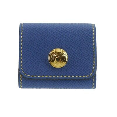 Authentic HERMES Sticky Note Case Blue Leather #f01280