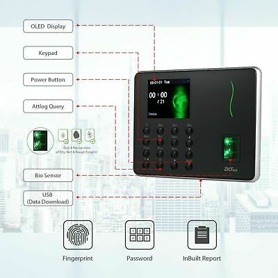 Fingerprint Attendance Machine Biometric Time Clock Employee Check-in Recorder