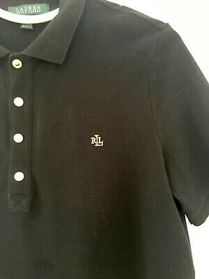 WOMEN'S BLACK POLO SHIRT BY LAUREN - RALPH LAUREN  SIZE MEDIUM (Genuine)