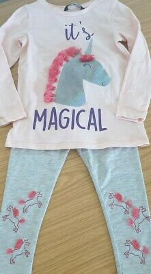 Girls Unicorn Top & Leggings Outfit Size 2-3 Years, George