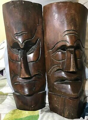 2 Vintage Wooden Hand Carved Masks Wall Hangings Tikki Style