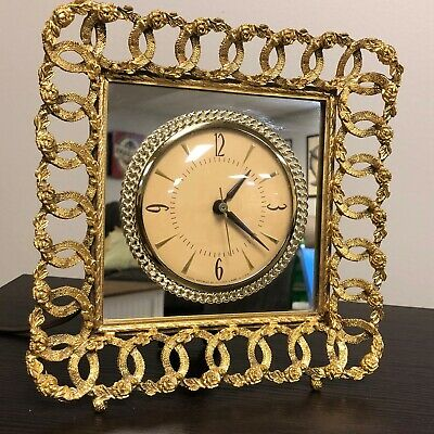 Vintage Gold Mirrored Clock Movement By Sessions