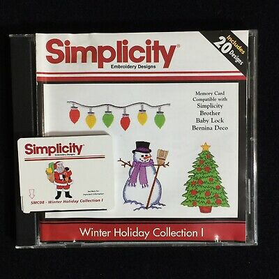 Winter Holiday #1 Embroidery Designs Card for Brother Baby Lock White Simplicity