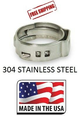 (100) 1/2 PEX Stainless Steel Clamp Cinch Rings Crimp Pinch Fitting Made in USA