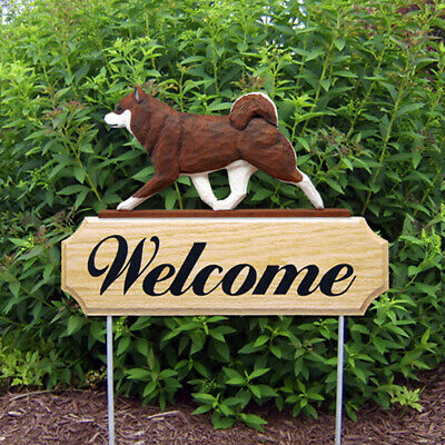Shiba Inu Wood Welcome Outdoor Sign Brown/White