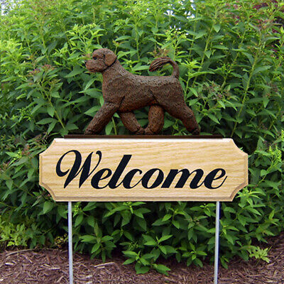 Portuguese Water Dog Wood Welcome Outdoor Sign Brown)