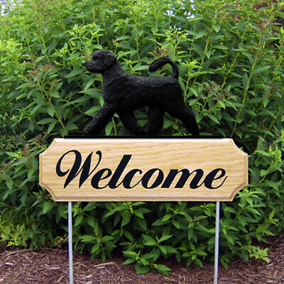 Portuguese Water Dog Wood Welcome Outdoor Sign Black