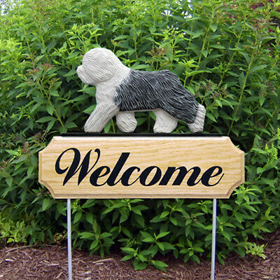 Old English Sheepdog Wood Welcome Outdoor Sign