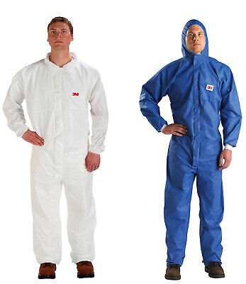 3m paper overalls coveralls white blue hood disposable m - 4xl