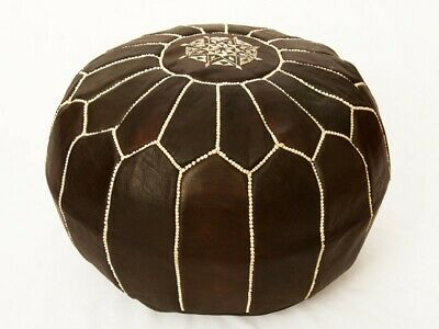 Pouf Leather Ottoman Dark Brown Genuine Handmade Ottoman Footstool Cover Seat