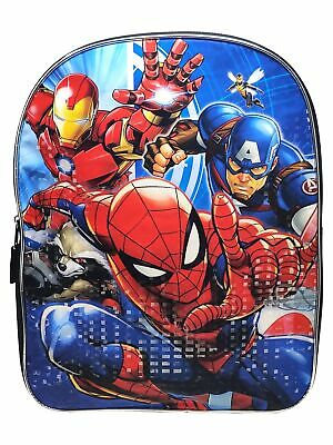 "Marvel Heroes 15/"" Backpack with Spiderman Captain America /& Nova Ironman"
