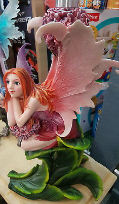 Gorgeous Fairy With Flowers & Glass Table Top Home Garden Statue Ornament Decor