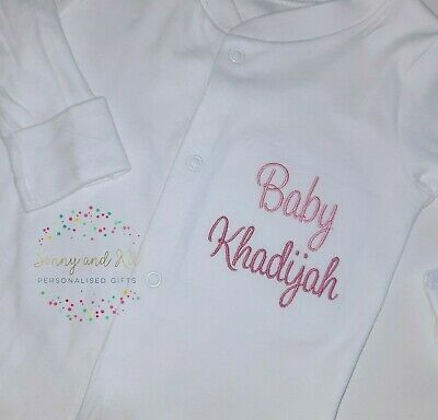Personalised Baby grow, Name Announcement Sleepsuit, Embroidered Custom Boy Girl