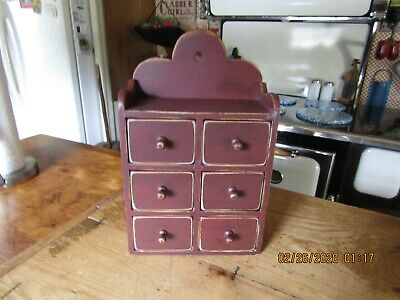 Vintage 6 Drawer Apothecary/Spice Box - New England Red - Very Nice