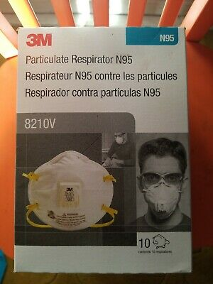 3M 8210V N95 Particulate Respirator Mask - Box of 10 EXP. 12/24 Fast Ship NEW