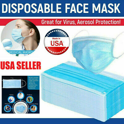 10-200 pcs Disposable Face Masks Medical Dental Industrial Quality 3-Ply Blue US