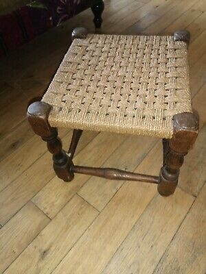 Antique foot stool barley twist legs woven raffia seat