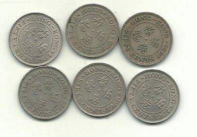 Very Nice Lot 6 Hong Kong Fifty Cents Coins-1951,1963,1964,1967,1968,1971-Feb018