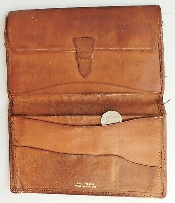 Vintage English pigskin wallet mid 20th century real leather NEEDS REPAIR