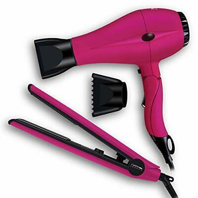 PARWIN PRO 2 in 1 Styling Toolkit Foldable Hair Dryer & Flat Iron (Pink)
