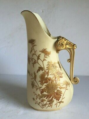 Antique Royal Worcester Hand Painted RAMS HEAD Pitcher Gold Gilt 1255 c1888 8""