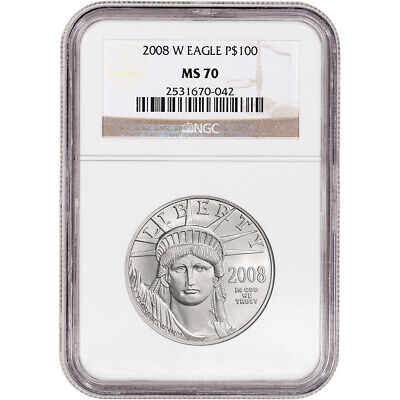 2008-W American Platinum Eagle Burnished 1 oz $100 - NGC MS70