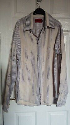 Teddy Smith size XXL grey pink white striped & bleached look long sleeved shirt