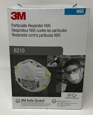 3m 8210 N95 Particulate Respirator Mask - 20 Pack - FAST FREE Shipping - NEW