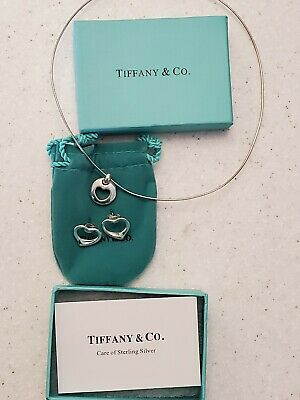 Tiffany & Co 925 Elsa Peretti Open Heart Pendant Necklace with Matching Earings