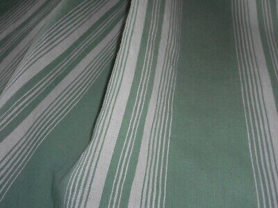 Antique Rustic French Linen Cotton Wide Stripe Ticking Fabric ~ French Green