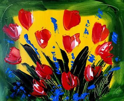 Tulips   Modern Abstract Oil Painting Original Canvas Wall Decor MADE 2  ORDER