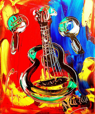 Modern  Abstract Oil Painting GUITAR Original Canvas Wall Decor Impressionist