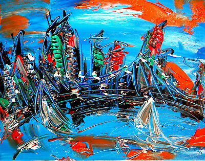 Modern SKYLINE   Abstract Oil Painting Original Canvas Wall Decor Impressionist