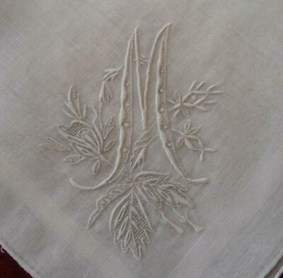 Vintage Madeira Wedding Hanky Monogram M Honeycomb Lace Embroidery Bridal