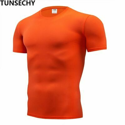 TUNSECHY Fashion pure color T-shirt Men Short Sleeve compression tight Tshirts S