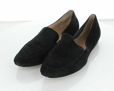 R20 Women's Sz 7.5 M Nordstrom Signature Suede Apron Toe Loafer Flats In Black
