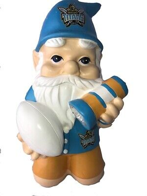 Gold Coast Titans NRL Kneeling Garden Gnome with Solar Powered Torch