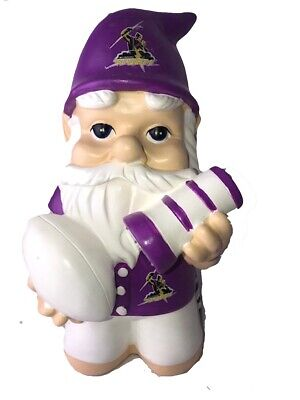 Melbourne Storm NRL Kneeling Garden Gnome with Solar Powered Torch