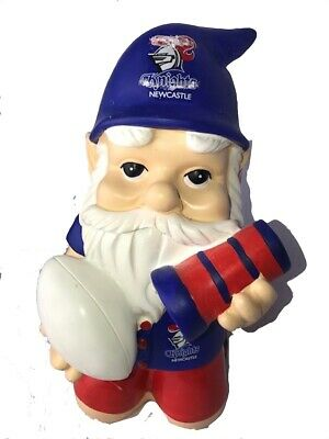 Newcastle Knights NRL Kneeling Garden Gnome with Solar Powered Torch