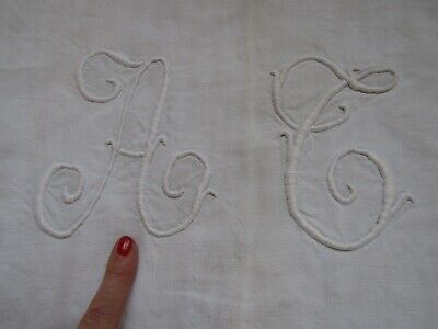 """Lovely Antique Linen  Embroidered French Monogram Sheet """" A C """"  74"""" X 88"""""""