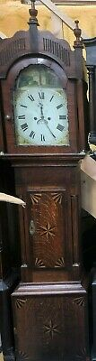 19th Century Inlaid Oak Long Case Grandfather Clock