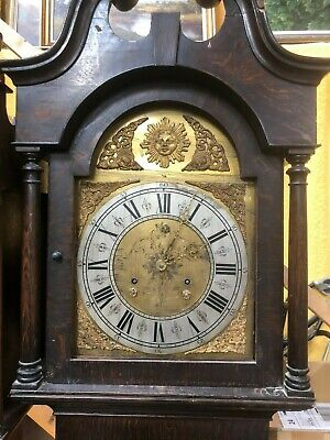 Georgian Oak Long Case Grandfather Clock With Brass Face