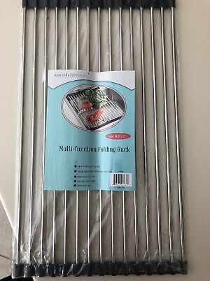 2X Over-the-Sink Dish Drying Dryer Drainer Rack Stainless Steel Flexible Roll-up